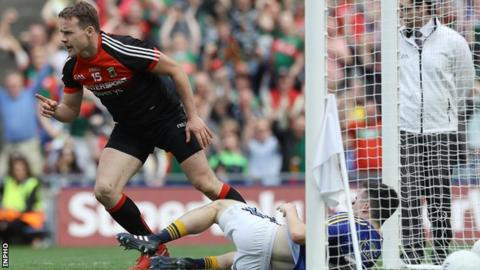 Andy Moran celebrates after palming in Mayo's second goal just after half-time