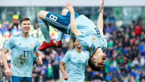 Northern Ireland's Paul Smyth celebrates in style after scoring for Northern Ireland