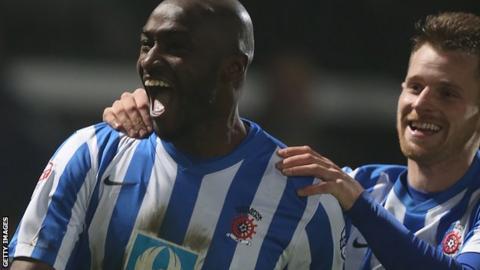 Marvin Morgan celebrates scoring for Hartlepool