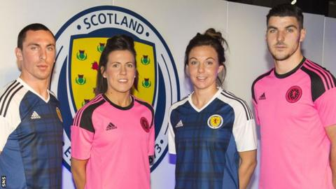 Scotland players Scott Brown, Leanne Crichton, Rachel Corsie and Callum Paterson