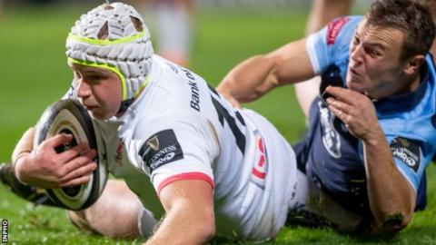 Luke Marshall scores Ulster's first try against Cardiff Blues