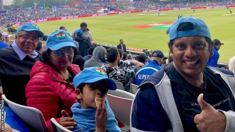 The Mathur family at the cricket World Cup semi-final between India and New Zealand at Old Trafford