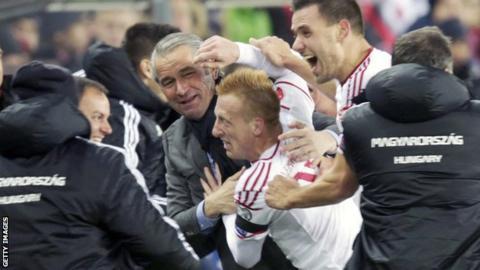 Hungary celebrate their winner in Oslo