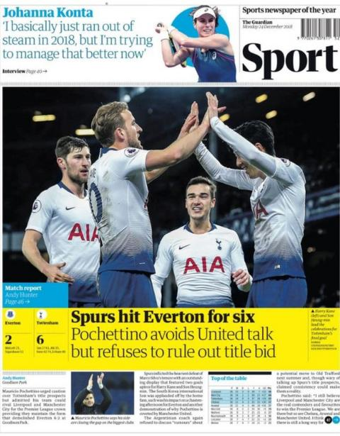 Monday's Guardian sport section front page