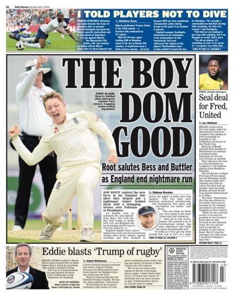 Monday's Express back page