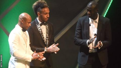 Yaya Toure (right) was beaten to the CAF player of the year award by Pierre-Emerick Aubameyang (centre)