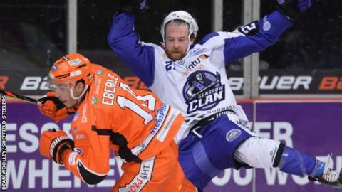 Clan's Linden Springer clashes with Sheffield's Tanner Eberle