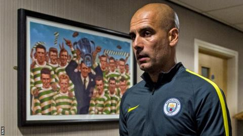Manchester City manager Pep Guardiola at Celtic Park