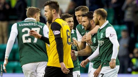 Hibs beat Dumbarton 4-0 to go level on points with Falkirk