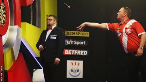 Glen Durrant during the match against Scott Waites
