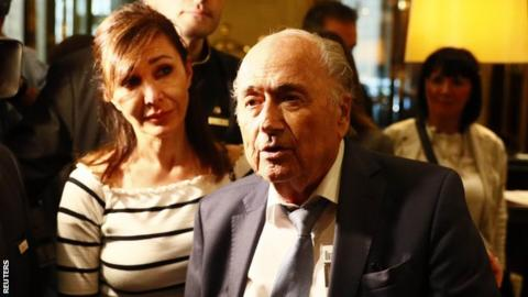 Former Fifa president Sepp Blatter speaks to the media at a hotel in Moscow