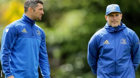 Leinster's Rob Kearney and backs coach Felipe Contepomi