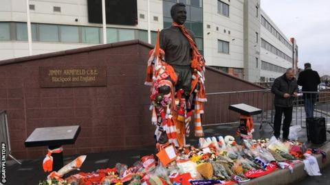 Scarves were laid by the Jimmy Armfield statue at Bloomfield Road before Blackpool faced Charlton in League One on Saturday