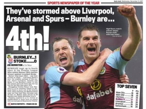 Incredulity from the Daily Mail that Burnley have reached fourth place