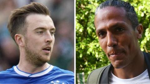 Rangers defenders Danny Wilson and Bruno Alves