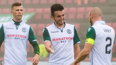 John McGinn (centre) celebrates his goal for Hibs against Runavik