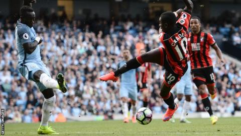 Max Gradel playing for Bournemouth against Manchester City
