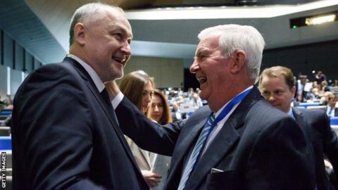 Rusada director general Yuri Ganus (left) with Wada president Sir Craig Reedie