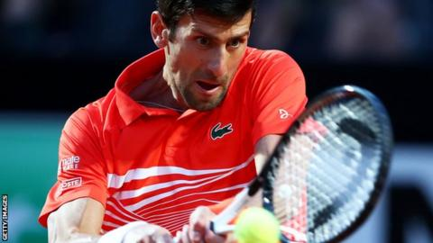 Novak Djokovic in semi-final action at the Italian Open