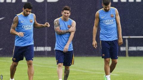 Luis Suarez, Lionel Messi, Gerard Pique