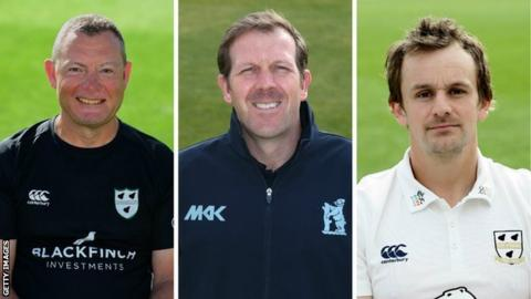 Alex Gidman (right) will be reunited with Alan Richardson (centre) in head coach Kevin Sharp's new-look Worcestershire backroom team