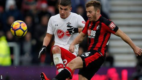 Southampton defender Jeremy Pied in action against Bournemouth