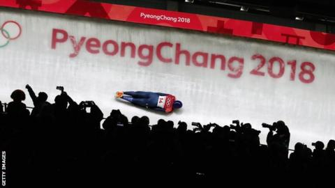 Lizzy Yarnold in action at Pyeongchang 2018