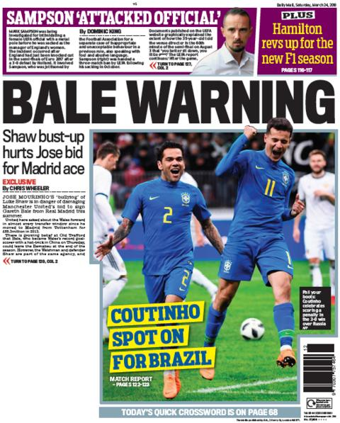 Daily Mail back page on Saturday