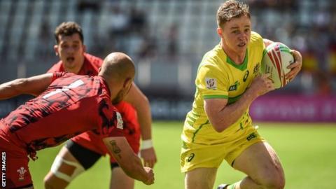 Australia's Joe Pincus in action against Wales