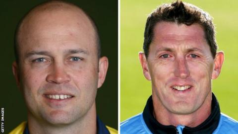 Warwickshire batsman Jonathan Trott (left) and Sussex coach Jon Lewis