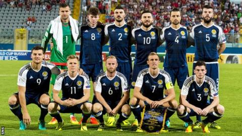 Scotland line up before kick-off