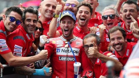 Andrea Dovizioso celebrates winning the Austrian Grand Prix