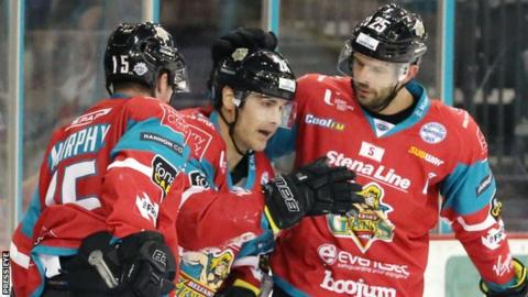 Jonathan Ferland (centre) after scoring for Belfast Giants against Edinburgh on Saturday night