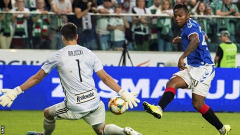 Alfredo Morelos came close for Rangers in the first-leg stalemate away to Legia Warsaw