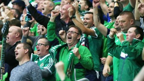 Northern Ireland fans in good voice at Windsor Park