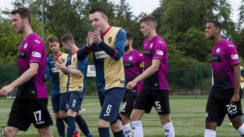 East Kilbride's Dean Cairns (centre) applauds the fans