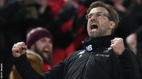 Jurgen Klopp celebrates a Liverpool goal