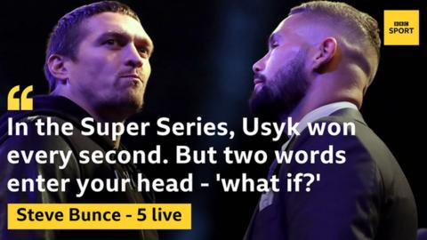 Usyk (left) is a strong favourite to beat Bellew with bookmakers