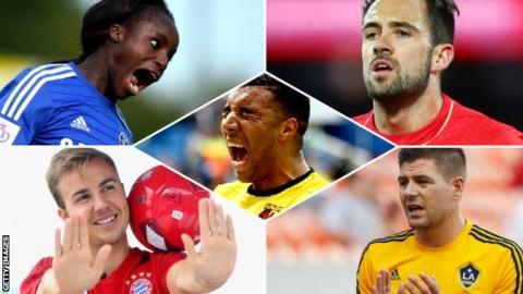 Eniola Aluko, Mario Gotze, Steven Gerrard, Troy Deeney and Danny INgs