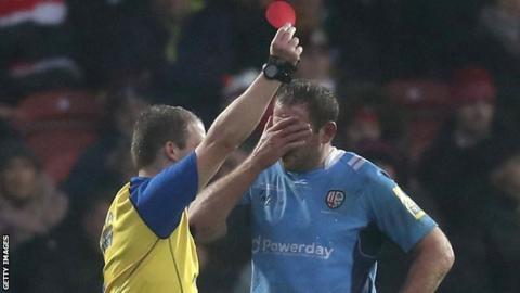 London Irish captain David Paice is sent off against Gloucester