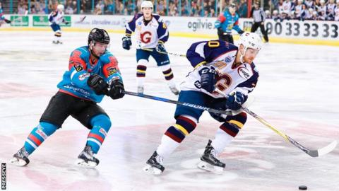 Darcy Murphy of the Belfast Giants tries to keep pace with Guildford Flames' Tomas Nechala