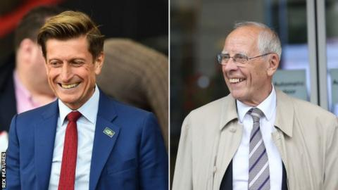 A split picture of Crystal Palace chairman Steve Parish on the left and Stoke City counterpart Peter Coates on the right
