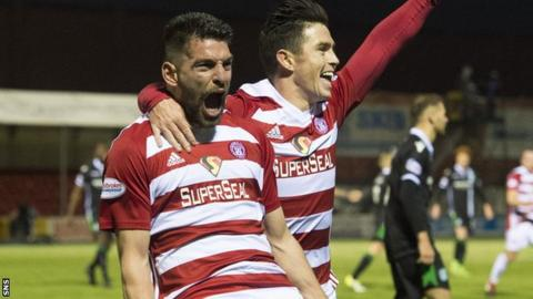 Antonio Rojano celebrates scoring for Hamilton Academical against Hibernian