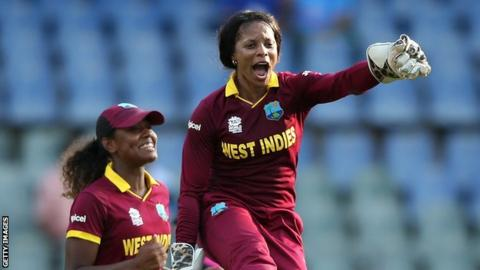 Merissa Aguilleira celebrates a wicket at the World T20 in 2016
