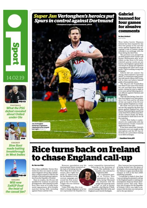 i back page on Thursday