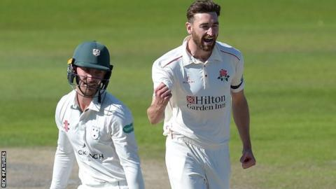 Richard Gleeson celebrates picking up the wicket of Ed Barnard