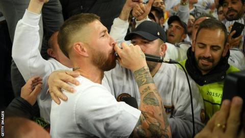 Ramos celebrates with fans after win in 2018 Champions League semi-final against Bayern Munich