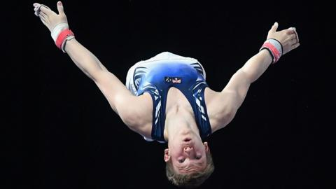 Melbourne, Australia, 25 May: Kipp Smith of Victoria pulls off a breathtaking routine during the Australian Gymnastics Championships at Hisense Arena, however he could only manage a fourth-place finish. (Photo by Quinn Rooney/Getty Images)