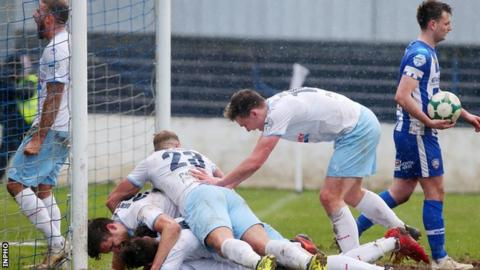 Goal celebrations for Ballymena in their 4-0 away win over the Bannsiders last month