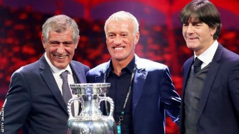 Managers of Portugal, France and Germany pose by euro trophy